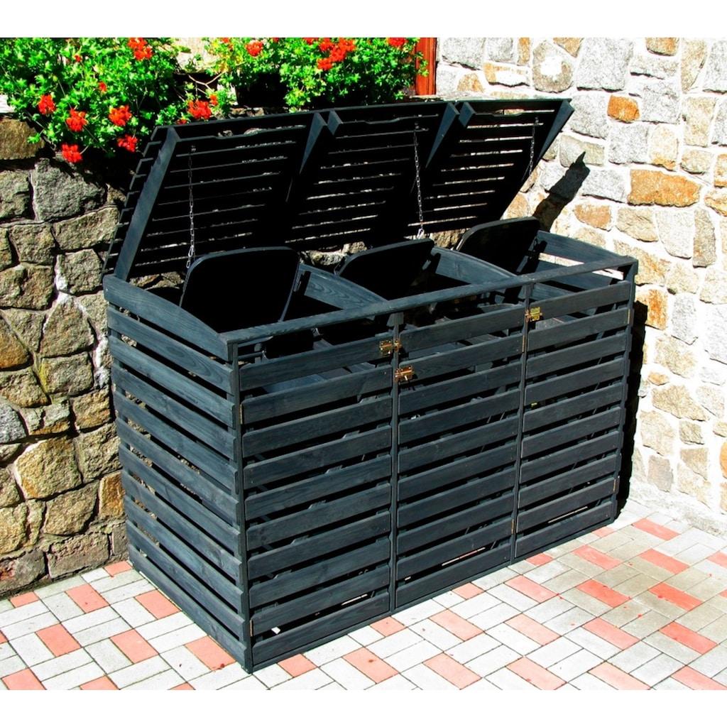 promadino Mülltonnenbox, für 3x240 l aus Holz, BxTxH: 202x92x122 cm