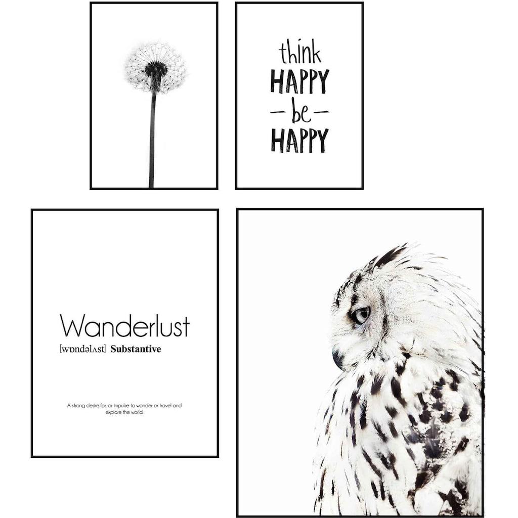 Reinders! Wandbild »Wandbilder Set Freiheit und Weisheit Tier - Glück - Blum - Wandern«, Schriftzug, (4 St.)