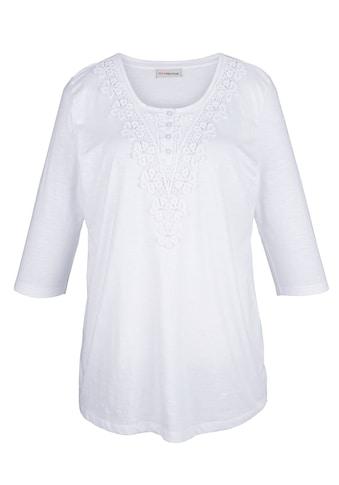 MIAMODA Shirt mit Spitze und kleinen Deko-Perlen am Ausschnitt kaufen