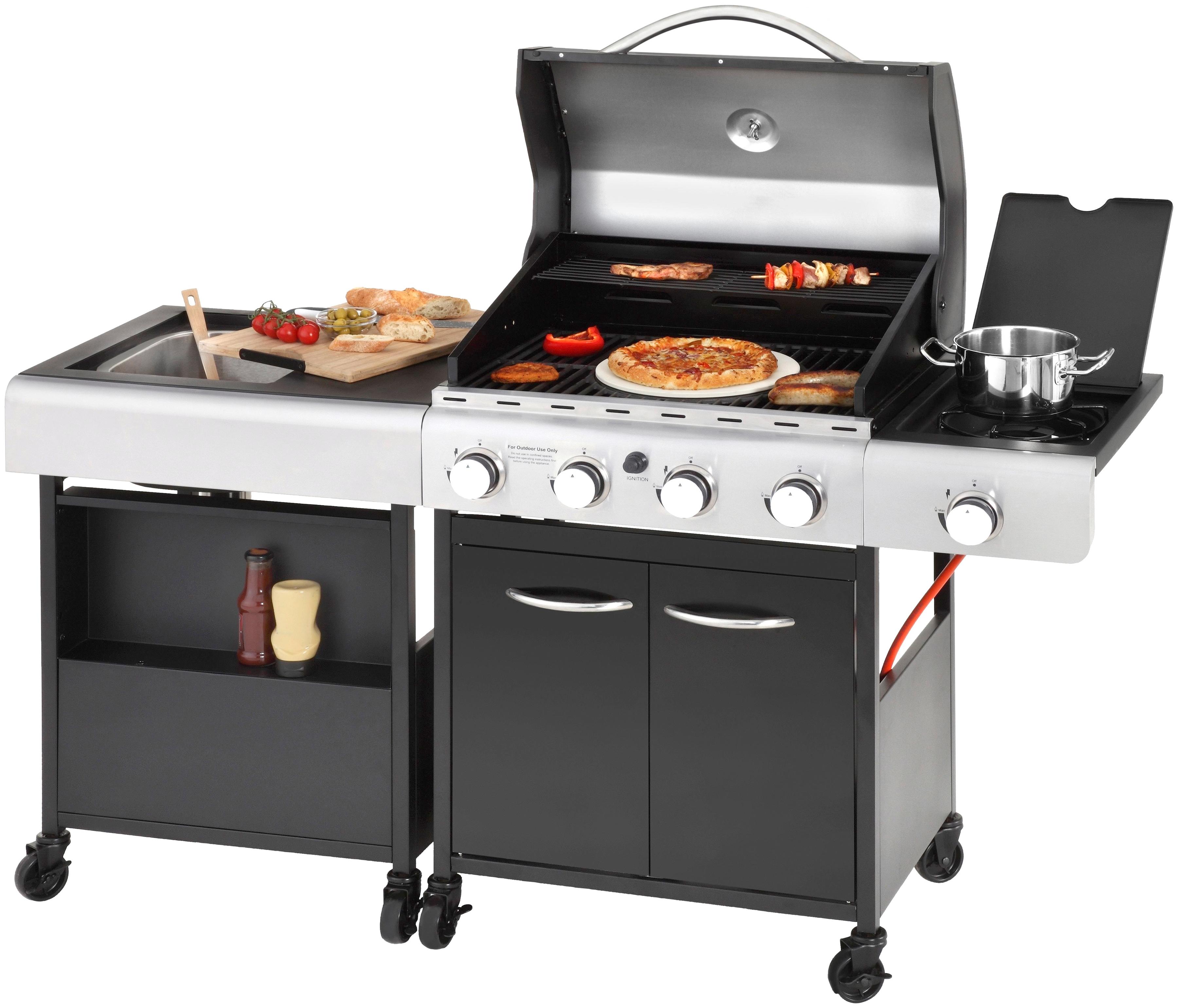 KONIFERA Gasgrill LANGLEY BxTxH: 157x53x108 cm inkl Pizzastein und Küchenwagen