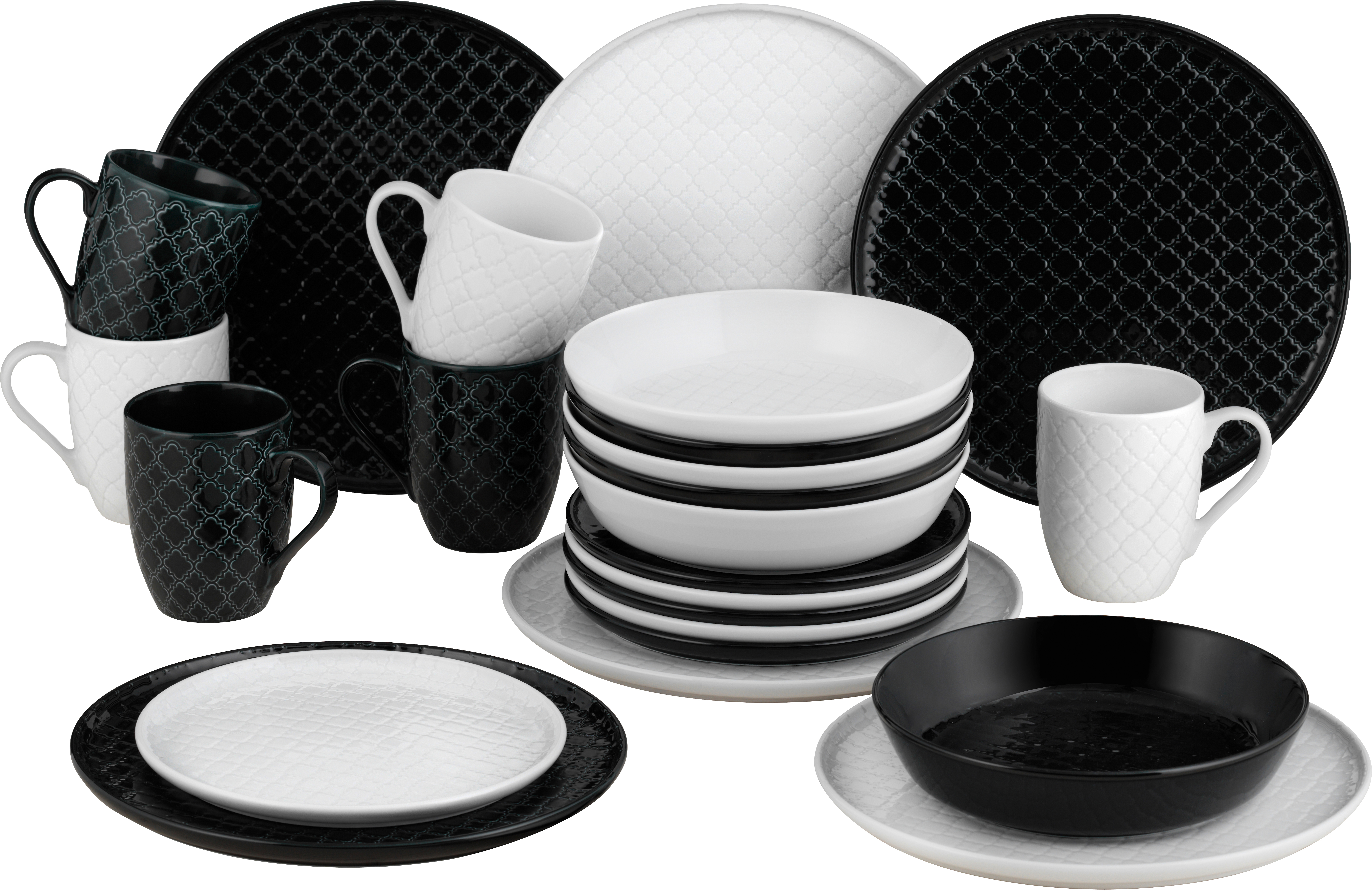 Van Well Kombiservice Black White 24 Tlg Porzellan Geschirr Sets Ebay