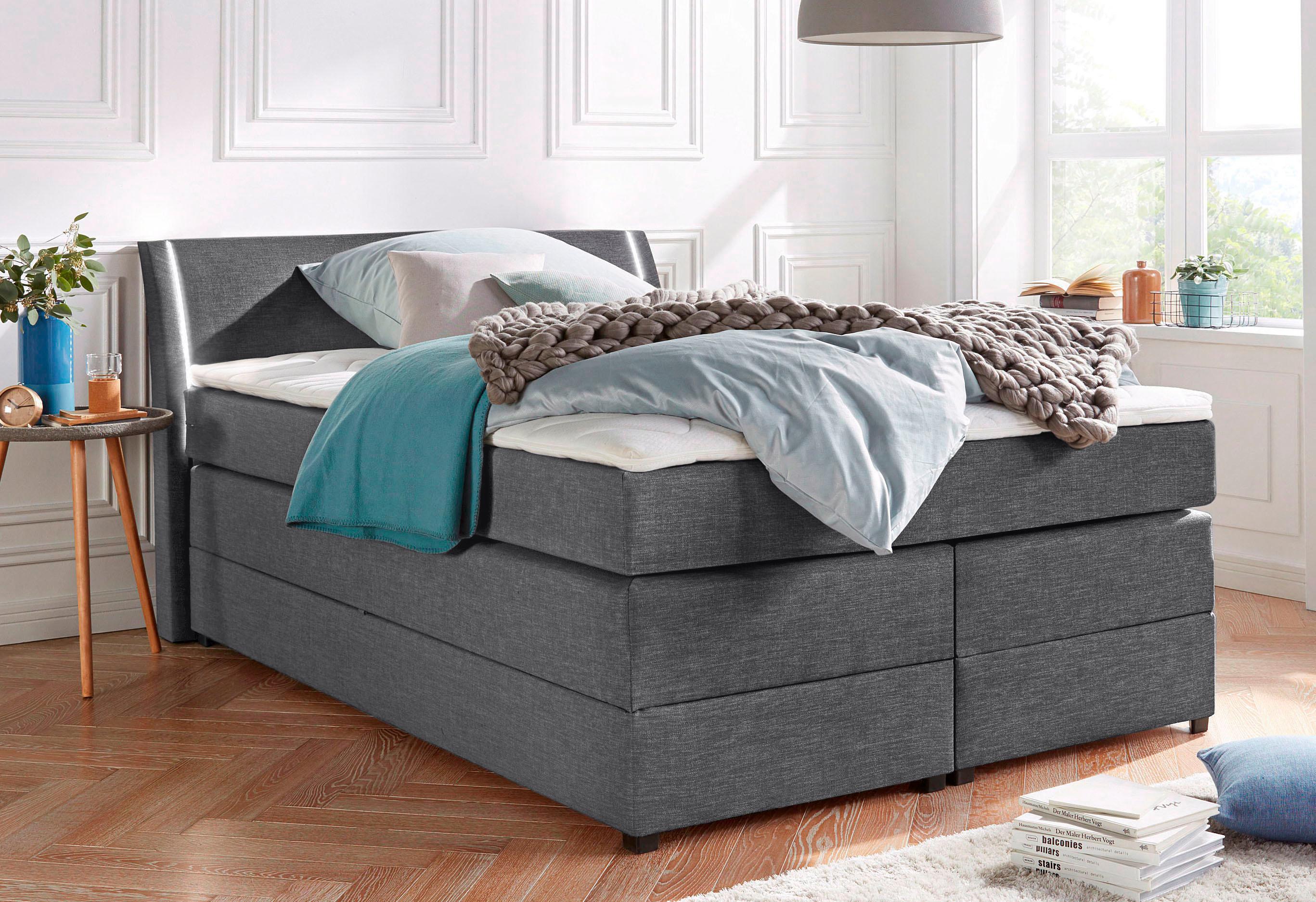 Breckle Boxspringbett mit Bettkasten und LED-Beleuchtung   Schlafzimmer > Betten > Boxspringbetten   Strukturstoff - Holz - Federn   BRECKLE
