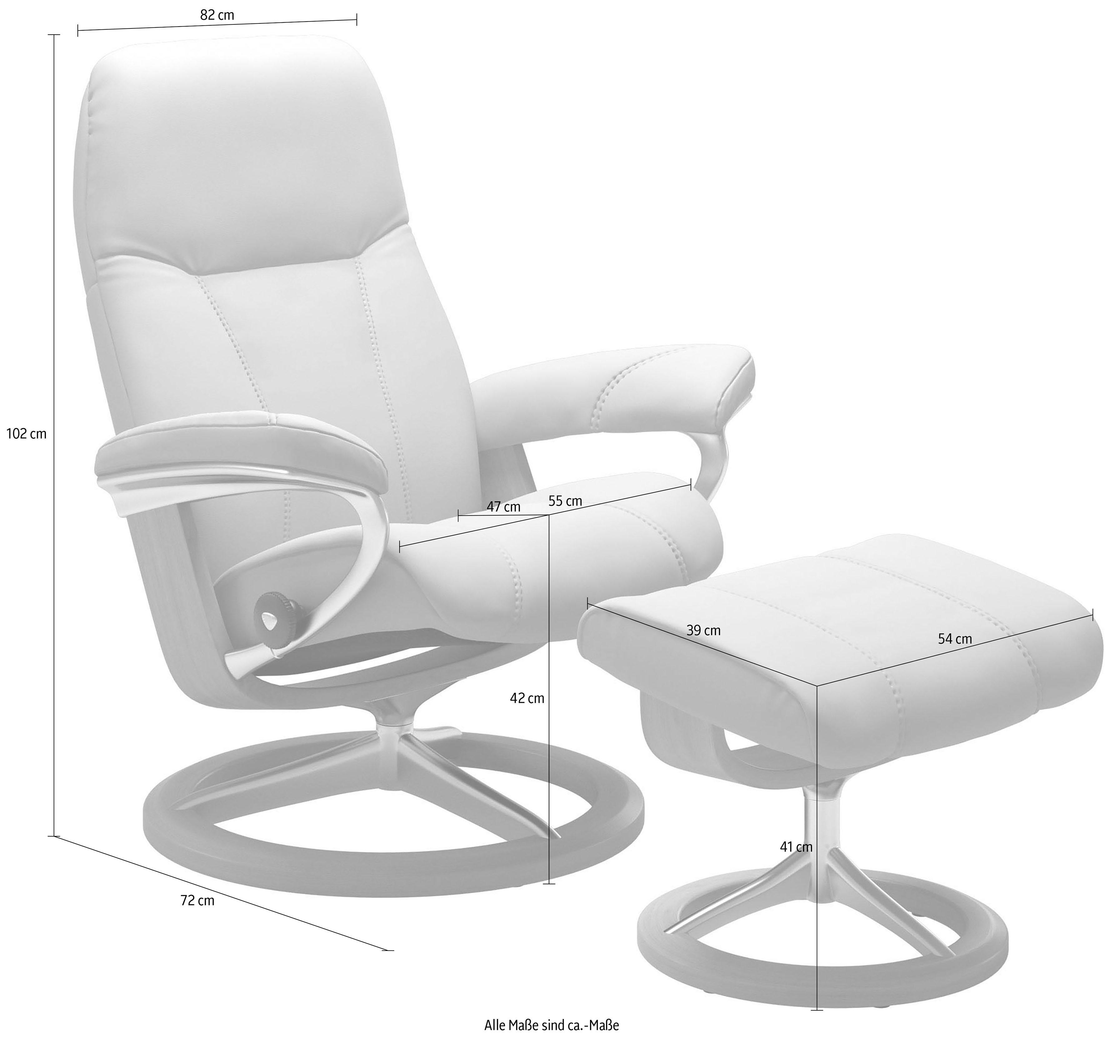 Stressless Set: Relaxsessel mit Hocker Consul mit Signature Base Größe M Gestell Whitewash