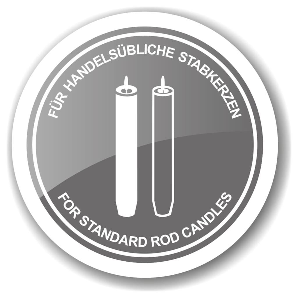 EDZARD Kerzenleuchter »Hirschgeweih«, Kerzenständer mit Silber-Optik im Hirsch-Design aus Aluminium, Kerzenhalter für 2 Stabkerzen, Höhe 33 cm