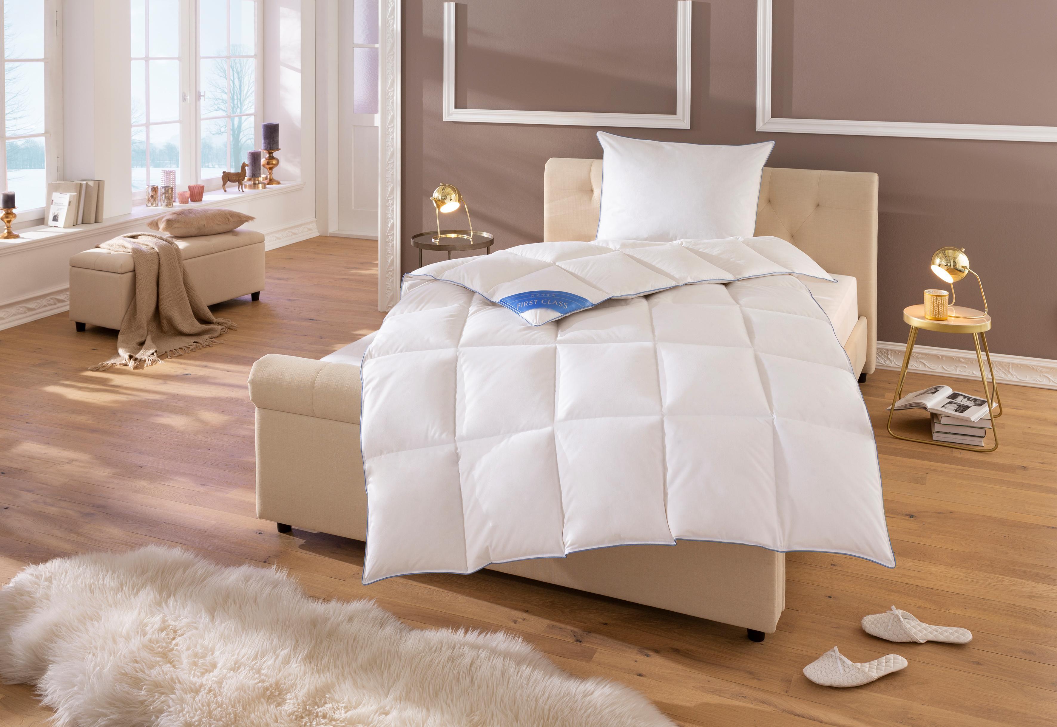 Daunenbettdecke Lina Hanse by RIBECO extrawarm Bezug: 100% Baumwolle