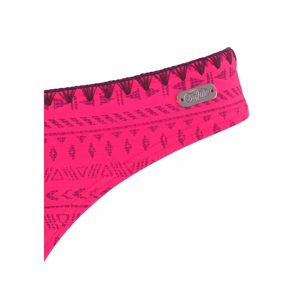 Buffalo Bügel-Bandeau-Bikini, gemustert mit Häkelkante