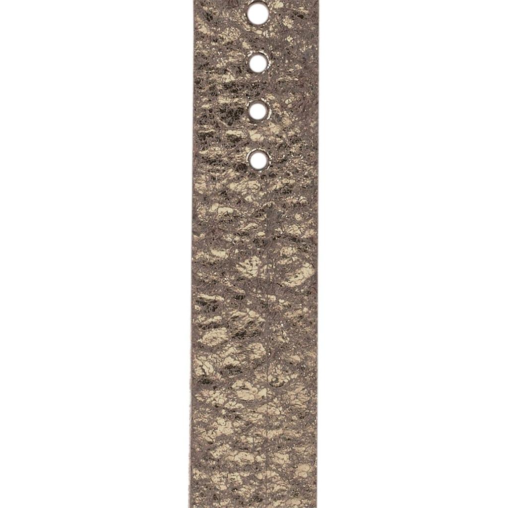 J.Jayz Ledergürtel, Glänzende Oberfläche, metallischer Vintage-Look, mit Lochausstanzungen rundum