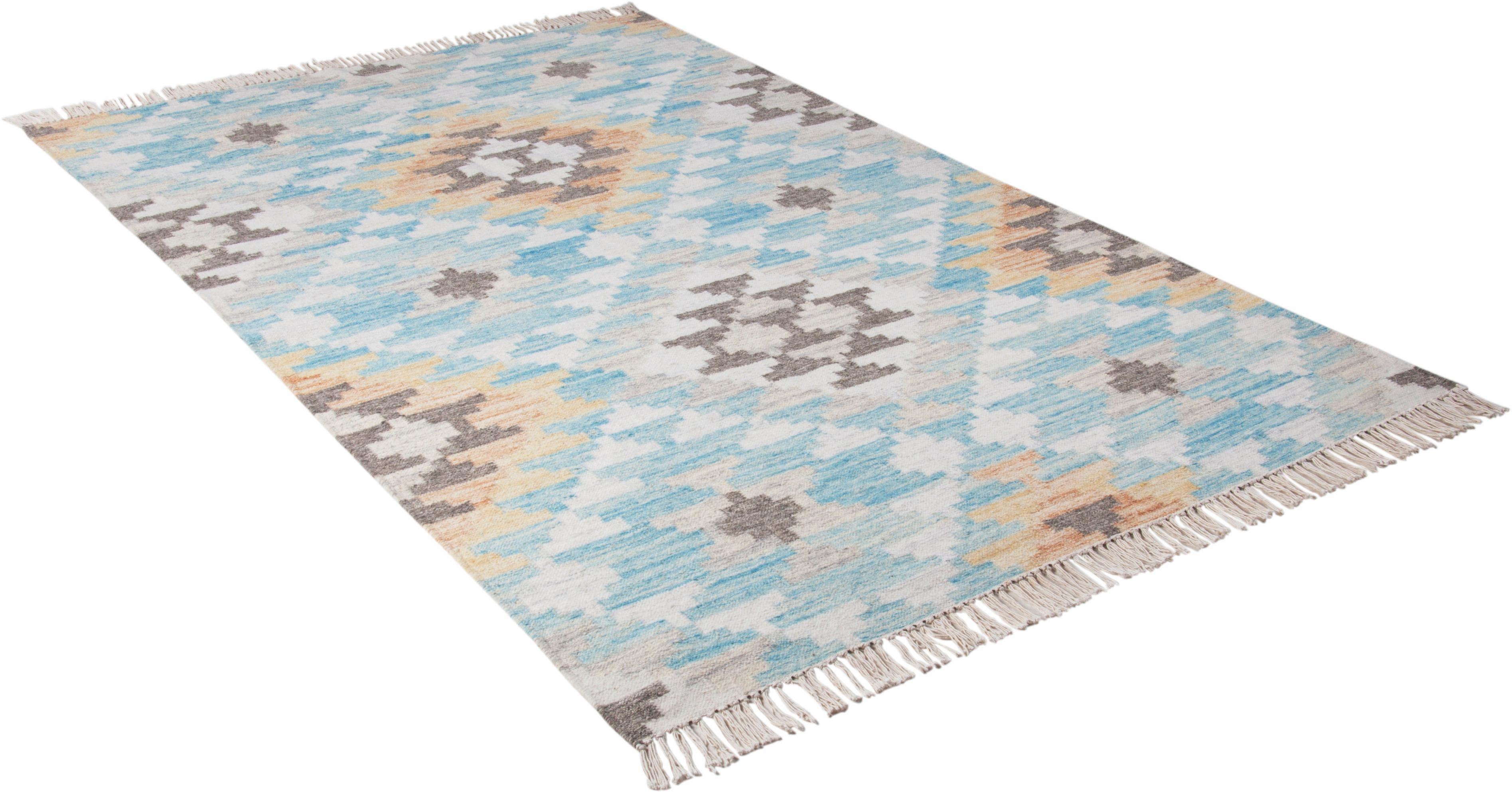 Orientteppich Check Kelim TOM TAILOR rechteckig Höhe 5 mm handgewebt