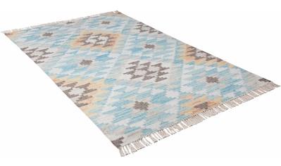 TOM TAILOR Teppich »Check Kelim«, rechteckig, 5 mm Höhe, Boho-Style, handgewebt, mit... kaufen