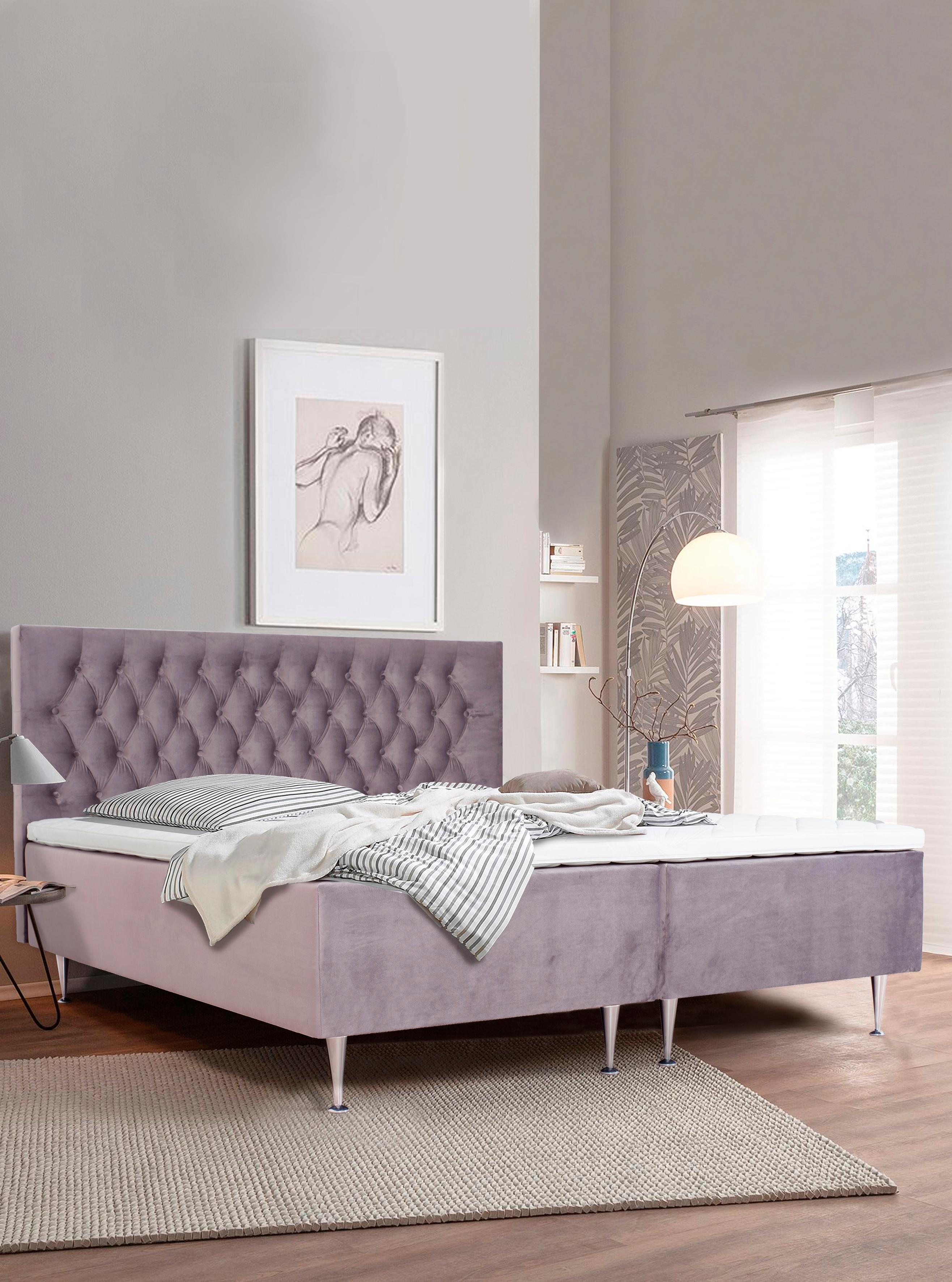 Places of Style Boxspringbett Exclusive | Schlafzimmer > Betten > Boxspringbetten | Lila | Places Of Style