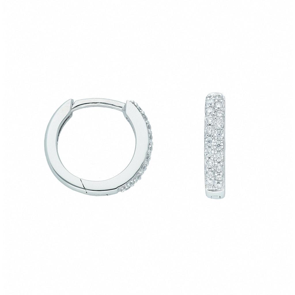 Adelia´s Paar Ohrhänger »585 Weißgold Ohrringe / Creolen mit Zirkonia Ø 13,1 mm«, Goldschmuck für Damen