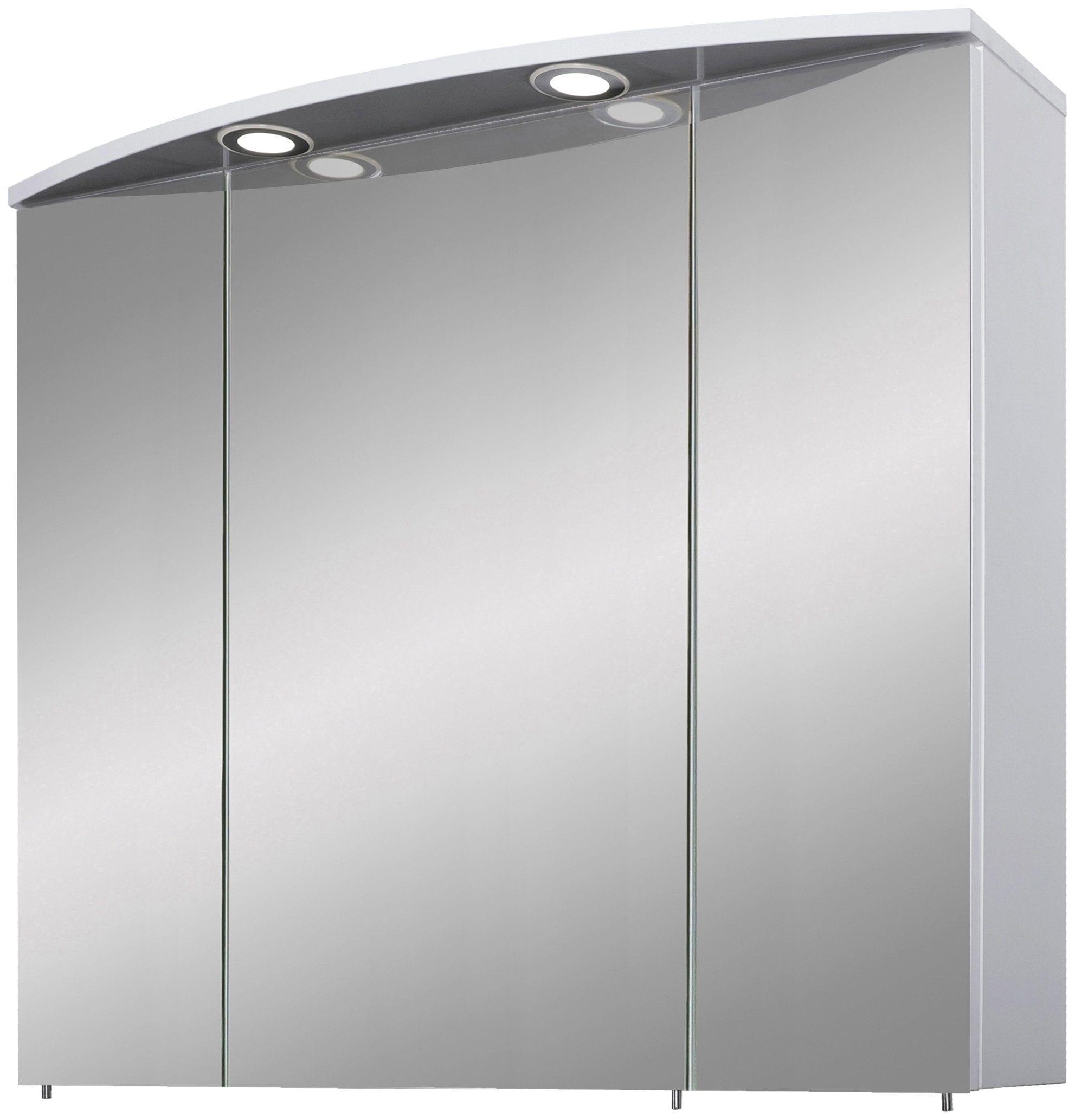 Schildmeyer Spiegelschrank Verona, Breite 80 cm, 3-türig, 2 LED-Einbaustrahler, Schalter-/Steckdosenbox, Glaseinlegeböden, Made in Germany