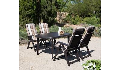Best 9 - tlg. Gartenmöbelset »Elise«, 4 Klappsessel, Tisch 137x90 cm, Kunststoff, braun kaufen