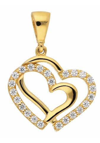 Adelia´s Kettenanhänger »333 Gold Anhänger Herz mit Zirkonia«, Goldschmuck für Damen kaufen