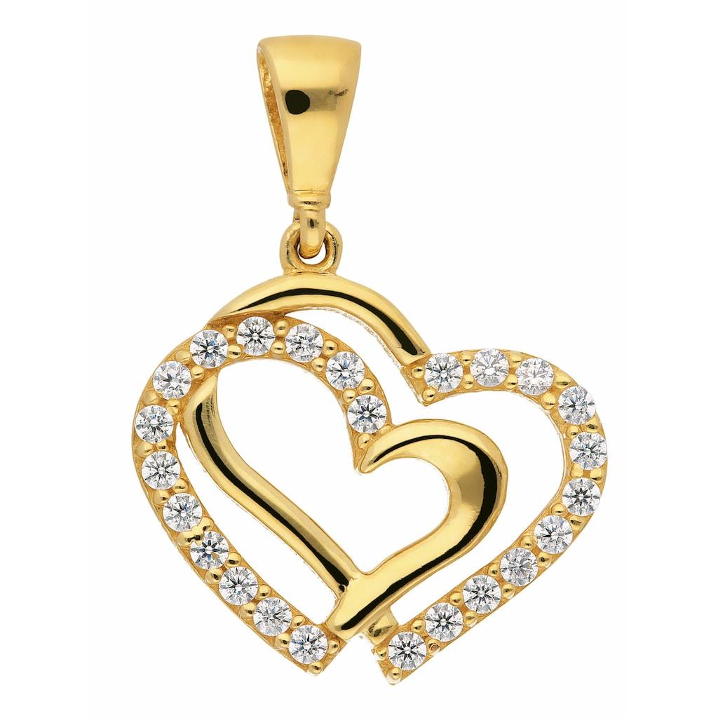 Adelia´s Kettenanhänger »333 Gold Anhänger Herz mit Zirkonia«, Goldschmuck für Damen