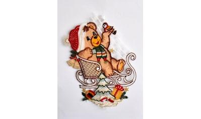 Stickereien Plauen Fensterbild »Teddy auf Schlitten« kaufen