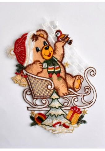 Stickereien Plauen Fensterbild »Teddy auf Schlitten« (1 Stück) kaufen