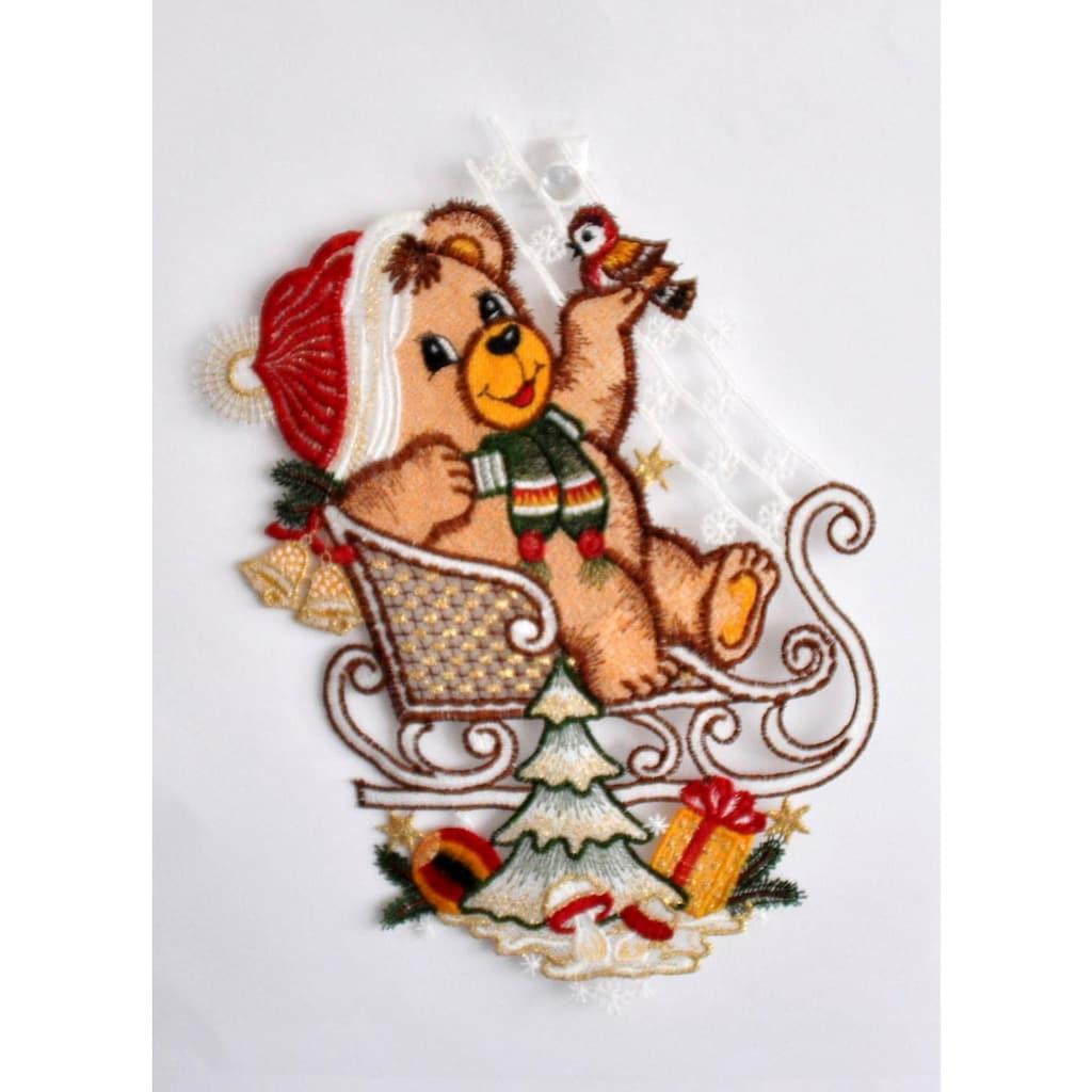 Stickereien Plauen Fensterbild »Teddy auf Schlitten«