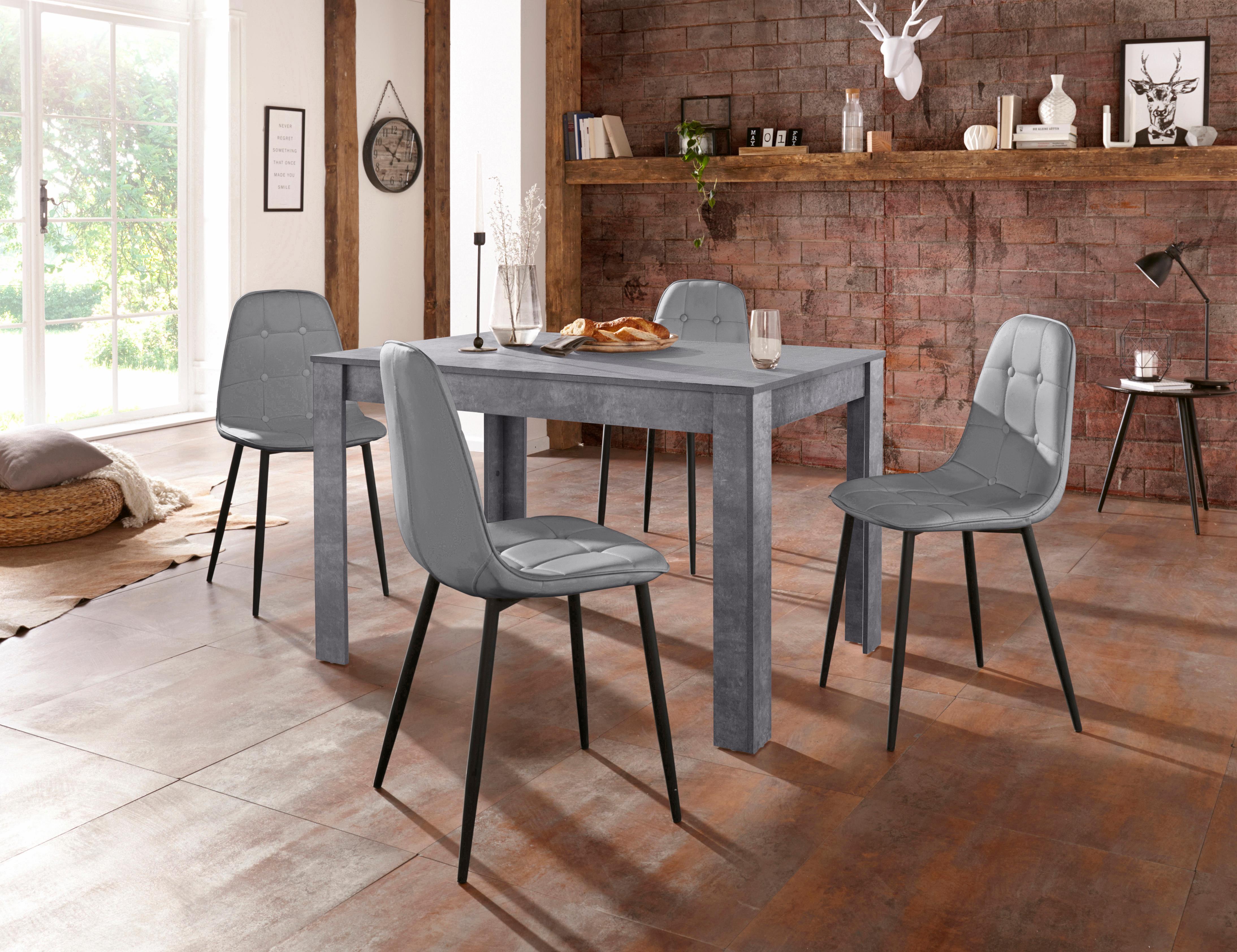 Essgruppe (Set, 5-tlg) grau Essgruppen Tische Sitzmöbel-Sets
