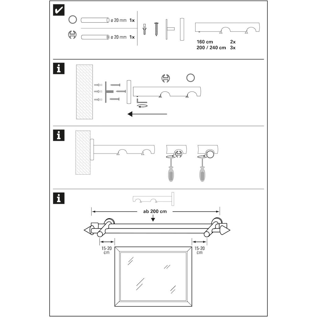 GARDINIA Gardinenstange »Gardinenstangen Set Kegel Metall«, 2 läufig-läufig, Fixmaß, Serie Kegel