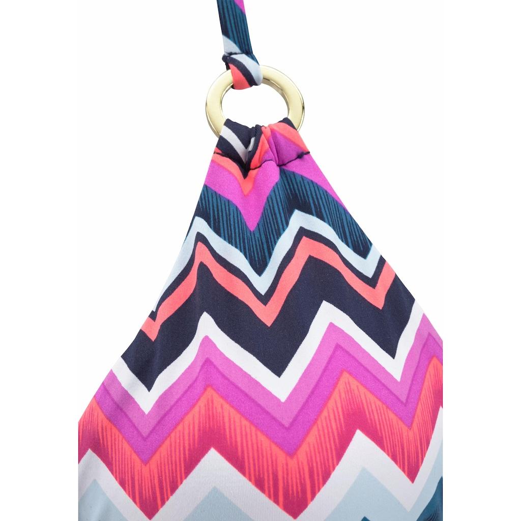 LASCANA Triangel-Bikini-Top »Pico«, mit goldenen Zierringen
