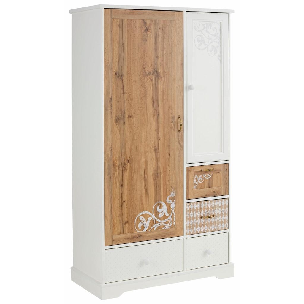 Home affaire Garderobenschrank »Ella«, 102 cm breit, dezent verziert/bedruckt mit Ranken und Ornamenten