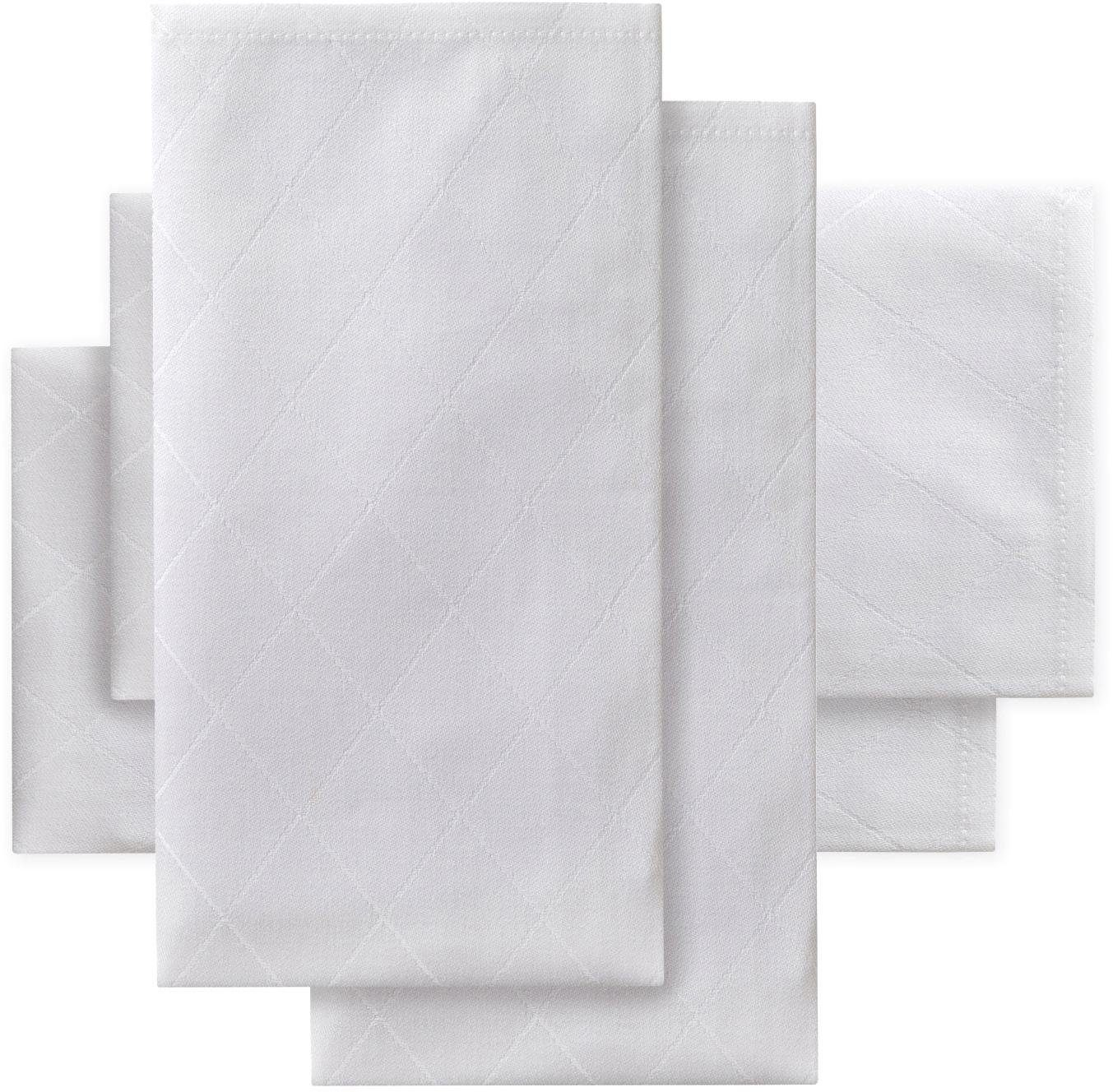 DDDDD Stoffserviette Rhomus, Damast, 50x50 cm weiß Stoffservietten Tischwäsche