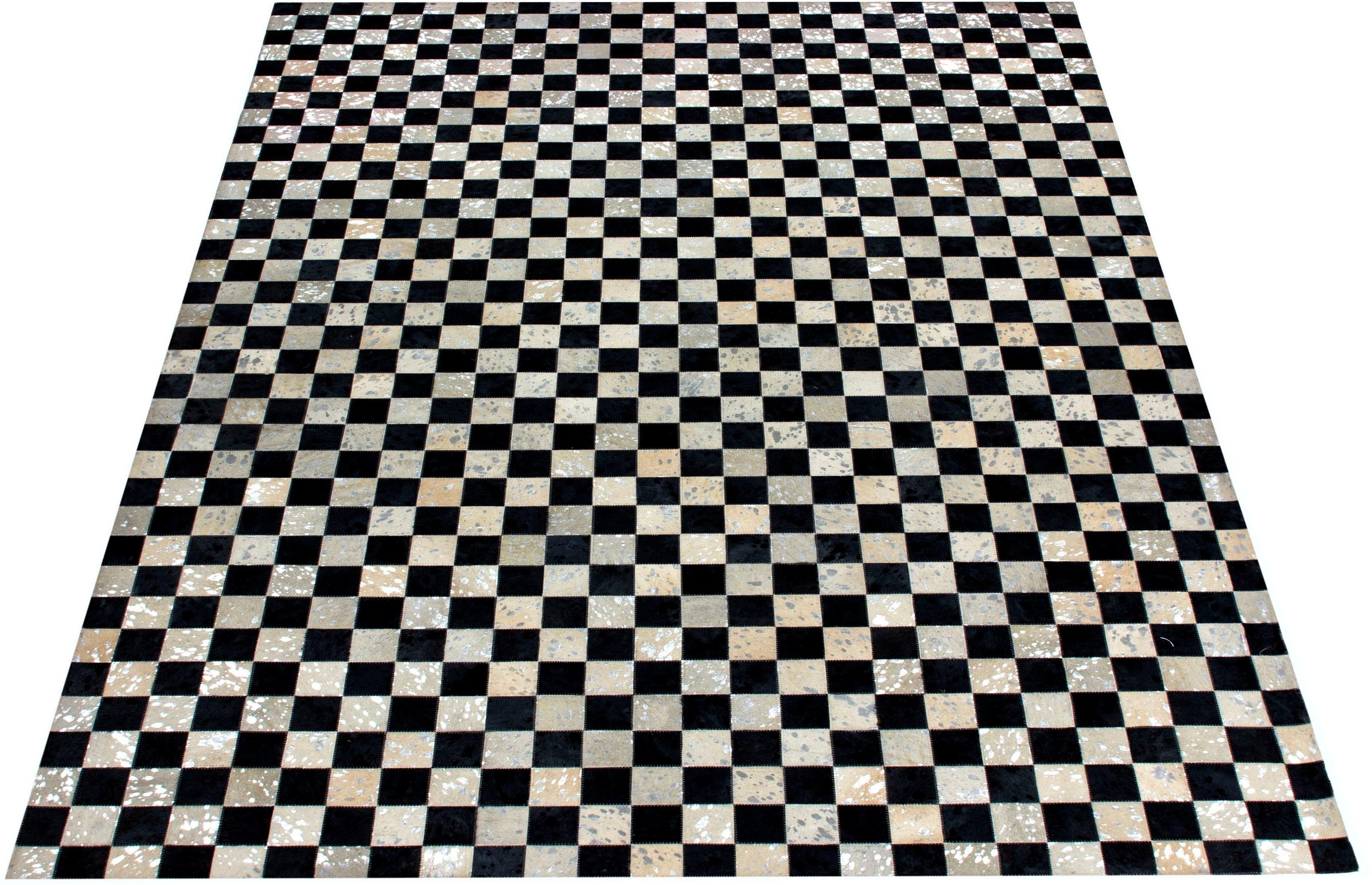 Bruno Banani Lederteppich Beron, rechteckig, 8 mm Höhe, echt Leder, Wohnzimmer grau Esszimmerteppiche Teppiche nach Räumen
