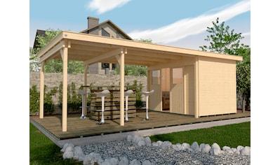 WEKA Set: Gartenhaus »225 B Gr.1«, BxT: 678x325 cm, inkl. Anbaudach und Fußboden kaufen