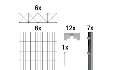 GAH Alberts Doppelstabmattenzaun »Nexus«, anthrazit, 120 cm hoch, 6 Matten für 12 m, 7... kaufen