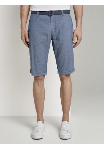 TOM TAILOR Shorts »Gemusterte Josh Regular Slim Baumwoll-Shorts mit Gürtel« kaufen