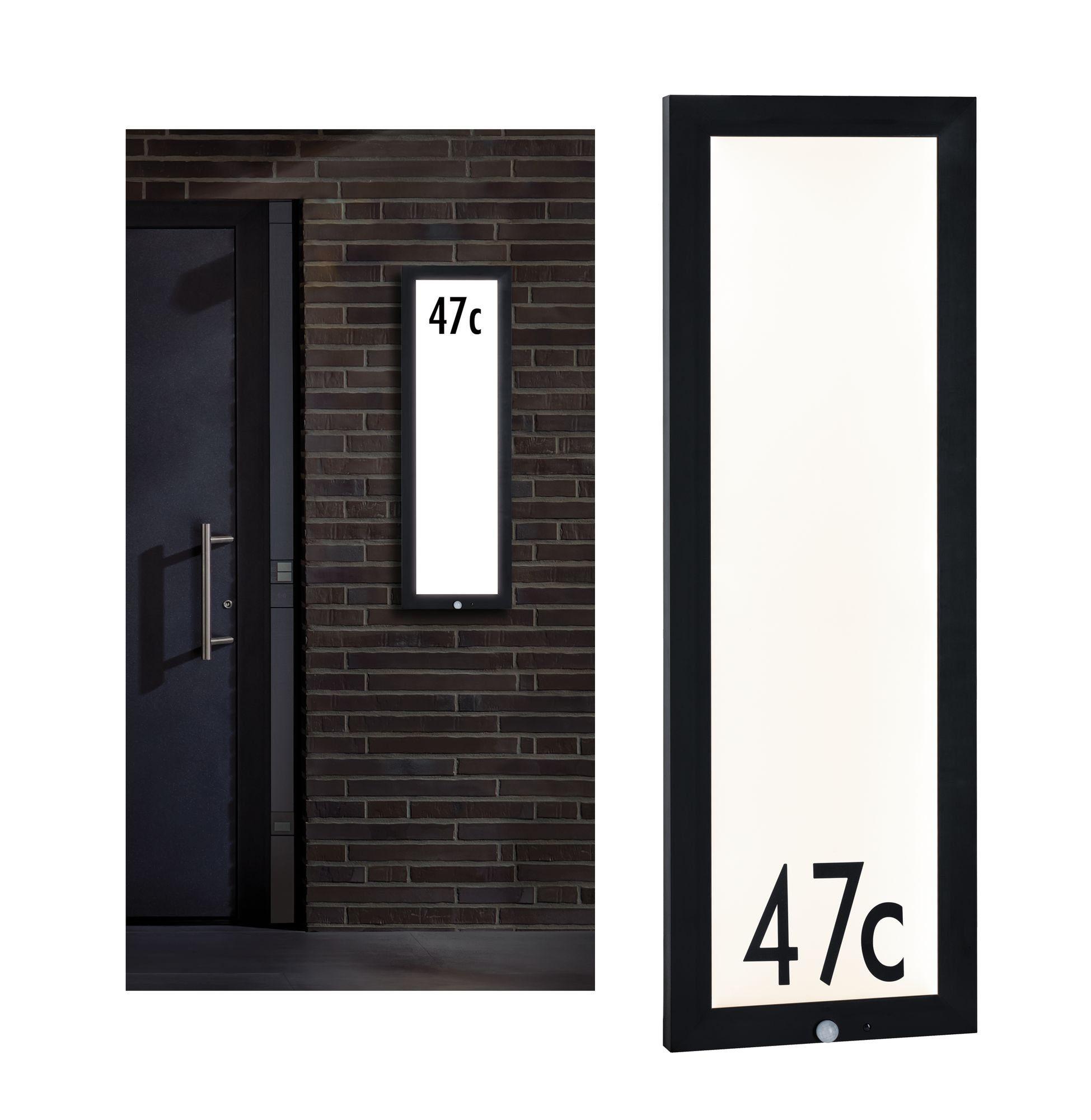 Paulmann,LED Außen-Deckenleuchte Panel 30x90 cm IP44 23W 230V Anthrazit Hausnummer mit Bewegungsmelder