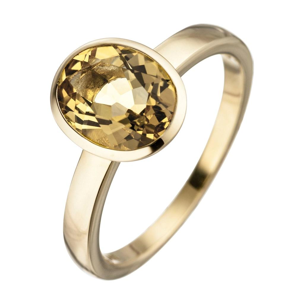JOBO Goldring, 585 Gold mit Citrin