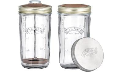 KILNER Protein Shaker, (Set, 4 tlg.), für Nussmilch, mit Spritzschutz, Kolben und 2... kaufen