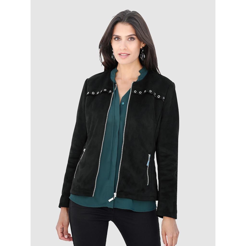 Laura Kent Lederimitat-Jacke mit Nietenbesatz