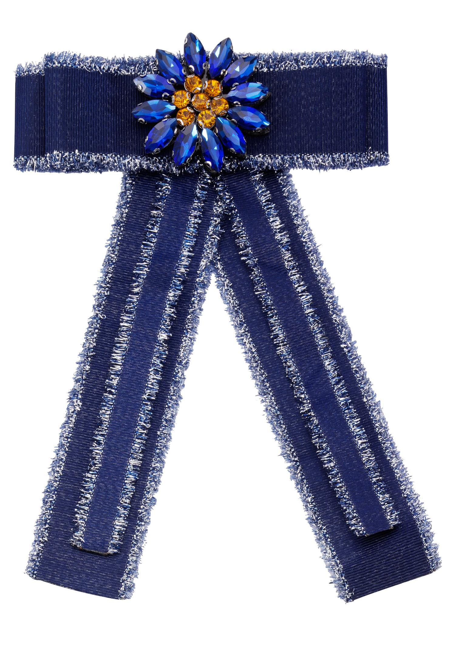 JJayz Brosche Ansteckschmuck in Schleifenform mit dekorativer Blume   Schmuck > Broschen   Blau   J. Jayz