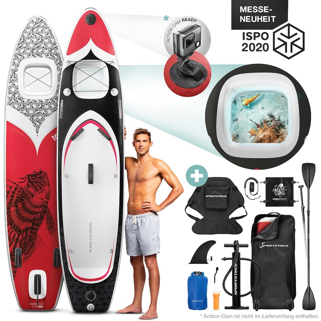 Sportstech Inflatable SUP-Board »WBX_REDFIREFISH«, (Set, 9 tlg., mit Paddel, Pumpe, Transportrucksack und Sitz), Sichtfenster
