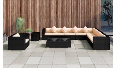 BAIDANI Loungeset »Eastside schwarz«, 34 - tlg., Ecksofa, Sessel, Hocker, Tisch, Alu/Polyester kaufen