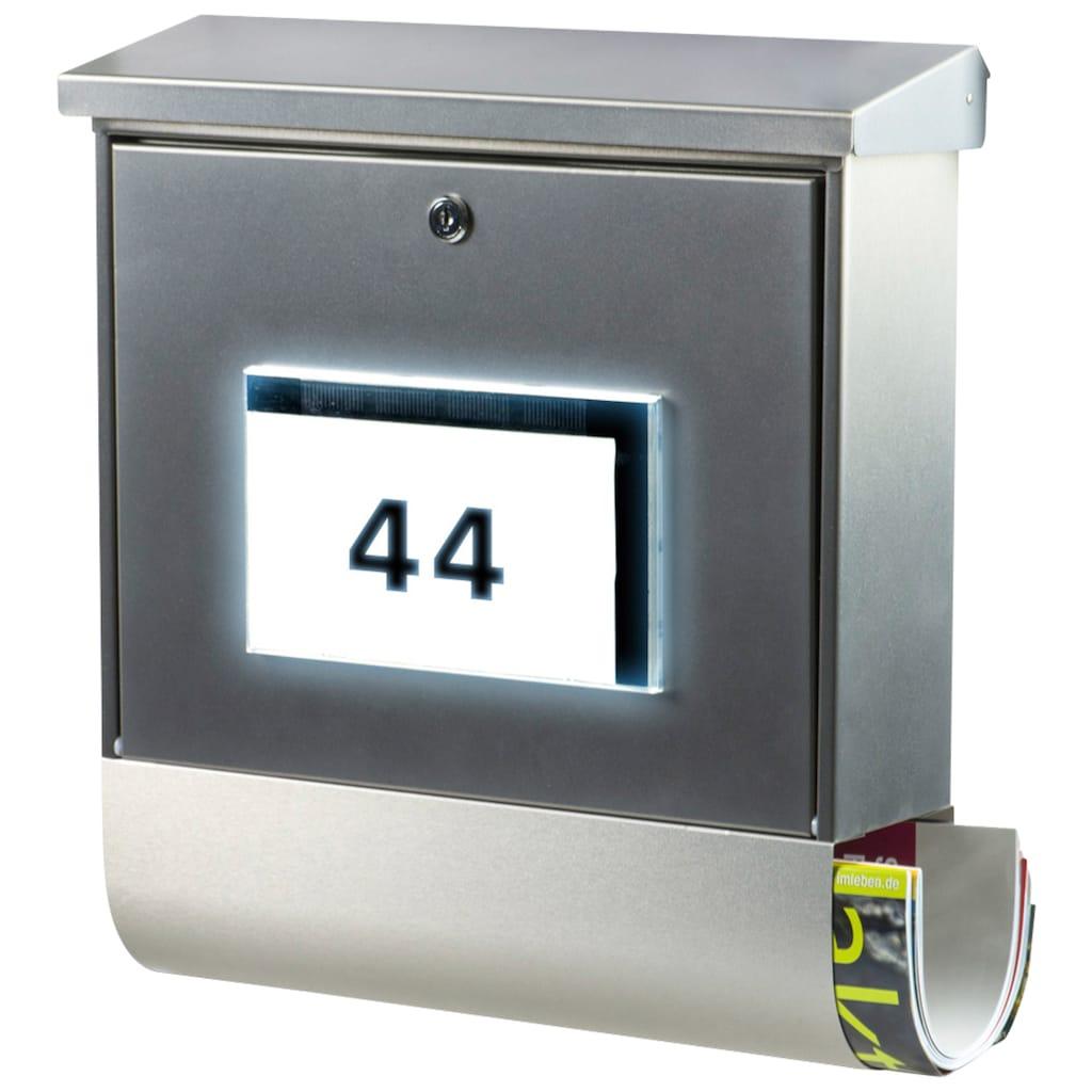Burg Wächter Briefkasten »Malaga 4400 Si«, mit Solarenergie, Beleuchtung und separatem Zeitungsfach