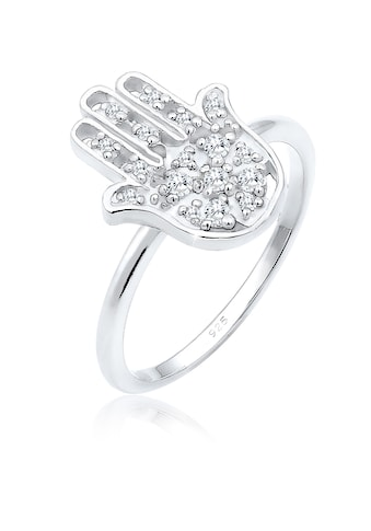 Elli Fingerring »Hamsa Hand Zirkonia Kristalle Boho 925 Silber« kaufen