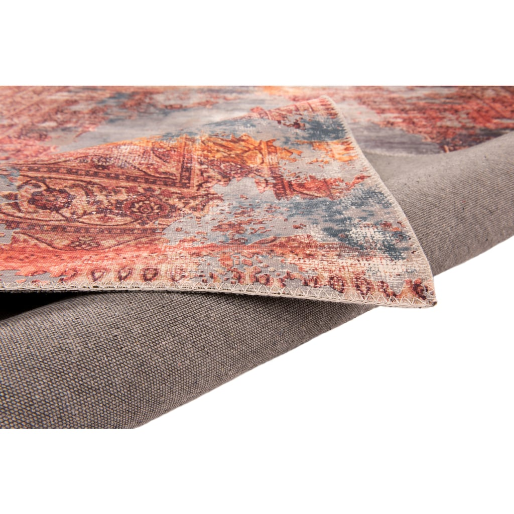 Gino Falcone Teppich »Cecilia 067«, rechteckig, 3 mm Höhe, Flachgewebe, bedruckt, Vintage Design, Wohnzimmer