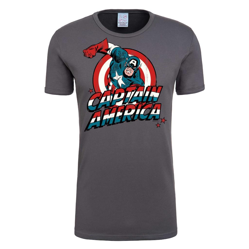 LOGOSHIRT T-Shirt »Captain America«, mit Retro-Frontprint