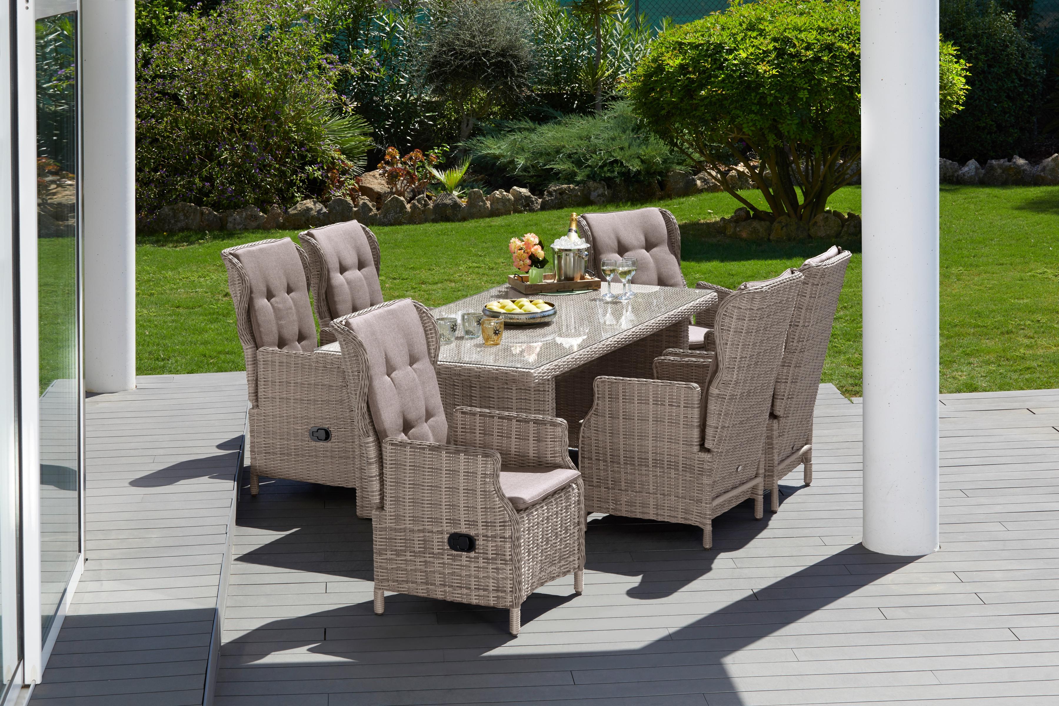 MERXX Gartenmöbelset Riviera 13-tlg 6 Sessel Tisch 200x100 cm Kunststoff/Stahl
