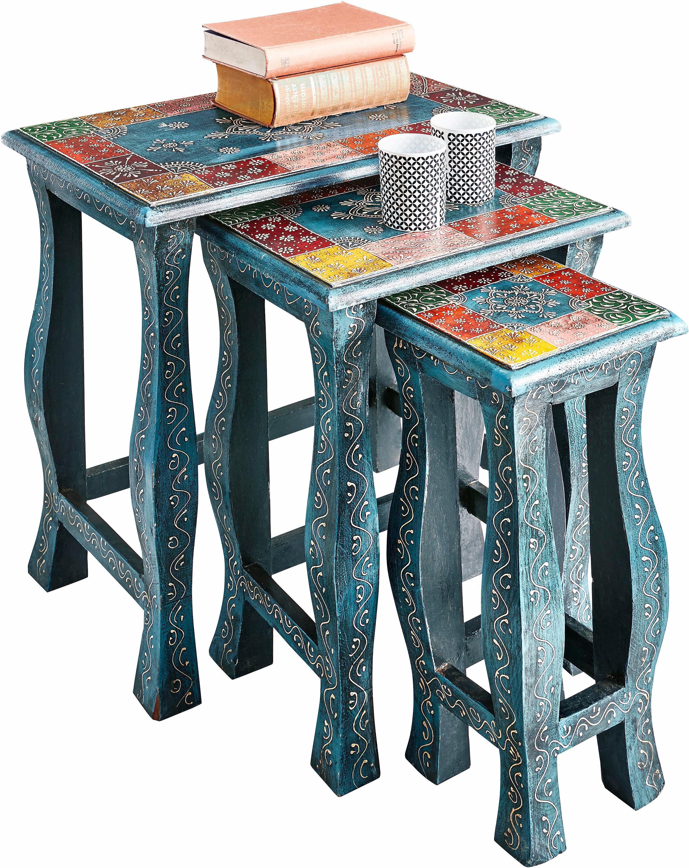 Home affaire Beistelltisch, (Set, 3 St.) blau Beistelltische Tische Beistelltisch