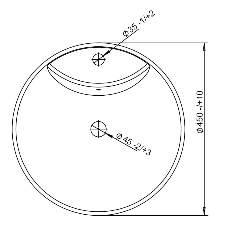 welltime Aufsatzwaschbecken »Milano«, mit Überlauf, rund, Breite 46 cm