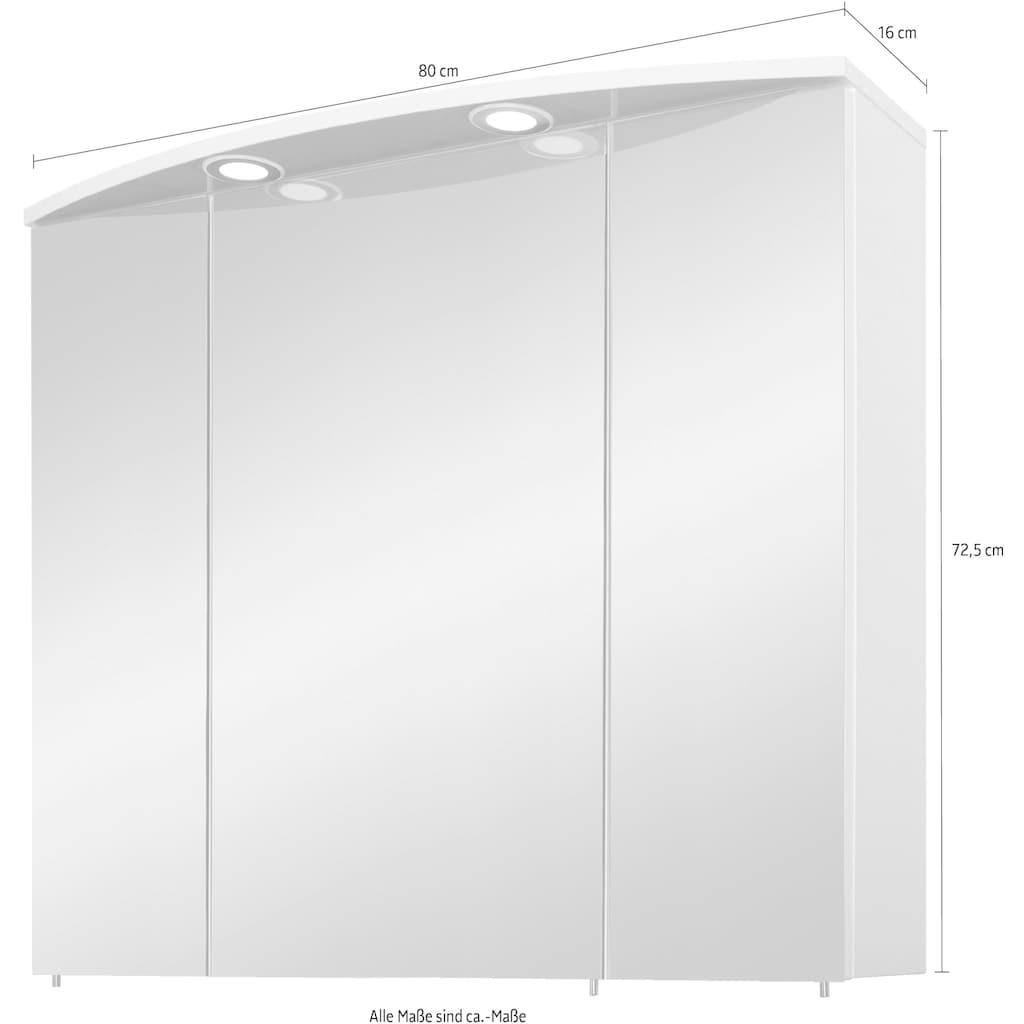 Schildmeyer Spiegelschrank »Verona«, Breite 80 cm, 3-türig, 2 LED-Einbaustrahler, Schalter-/Steckdosenbox, Glaseinlegeböden, Made in Germany