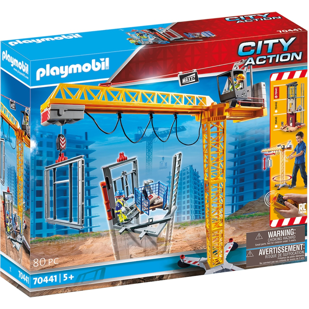 Playmobil® Konstruktions-Spielset »RC-Baukran mit Bauteil (70441), City Action«, ; Made in Germany