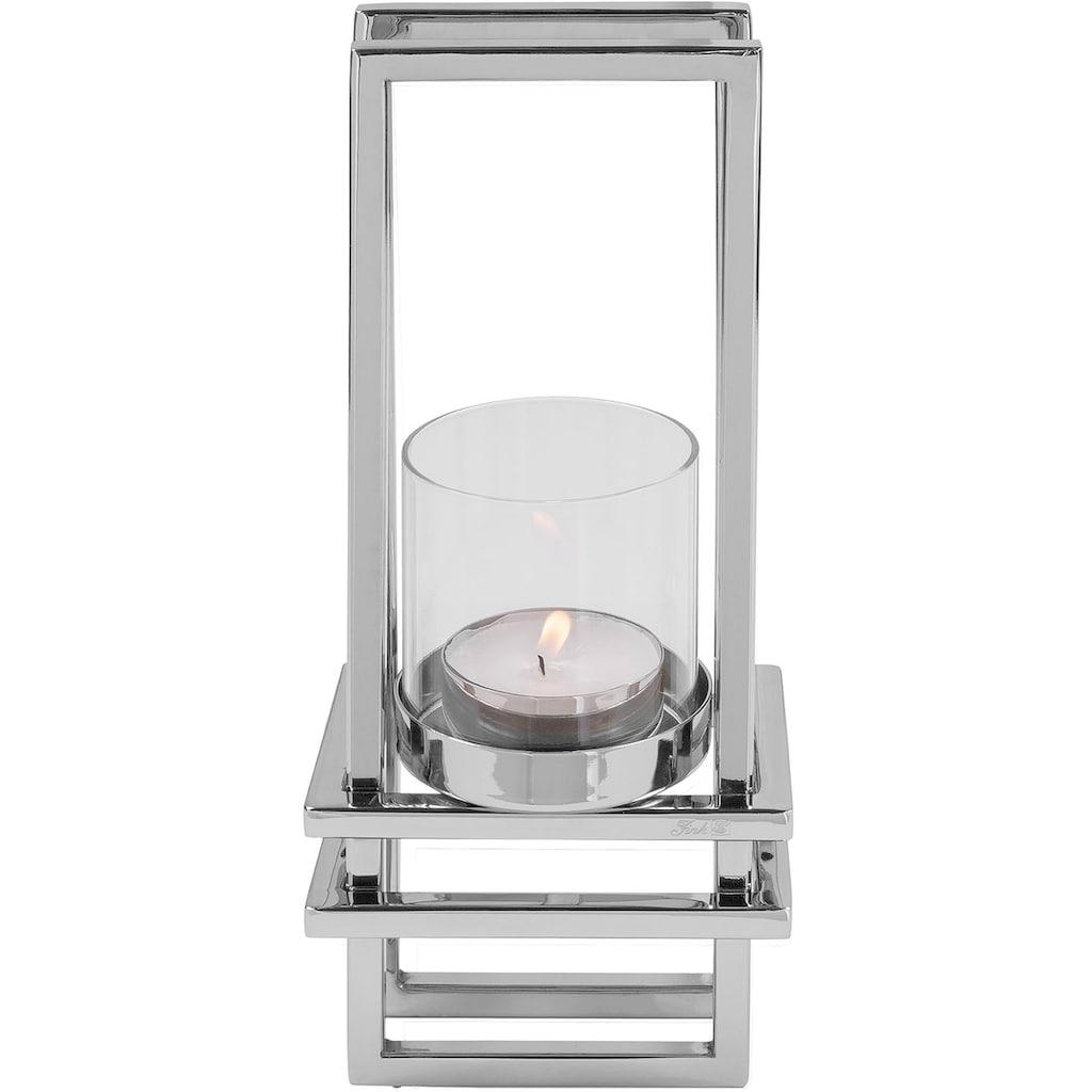 Fink Wandkerzenhalter »DUALIS, silberfarben«, Kerzen-Wandleuchter, Kerzenhalter, Kerzenleuchter hängend, handgefertigt, aus Metall, inkl. Glaszylinder, 3D-Effekt, in verschiedenen Größen erhältlich, Wohnzimmer