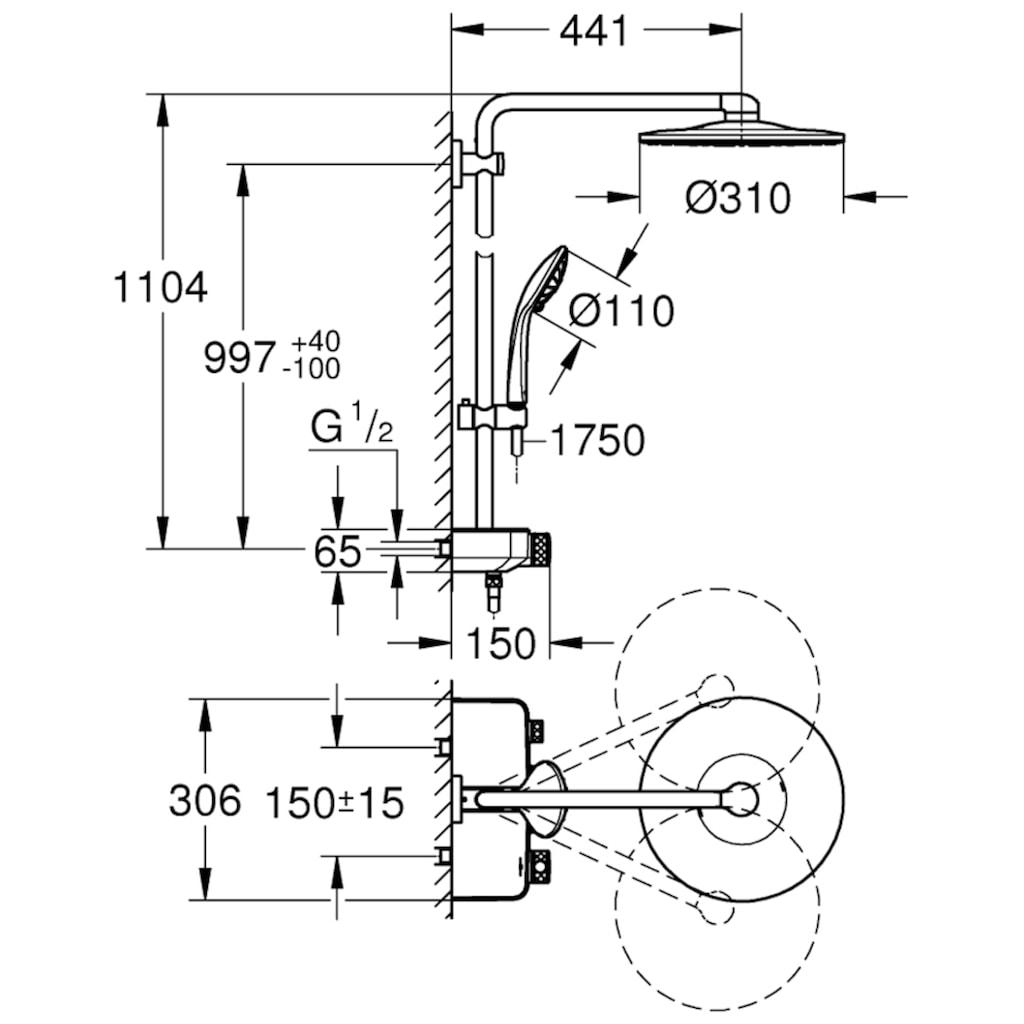 Grohe Brausegarnitur »Euphoria Smartcontrol System 310 Duo«, für Wandmontage, mit Thermostatbatterie