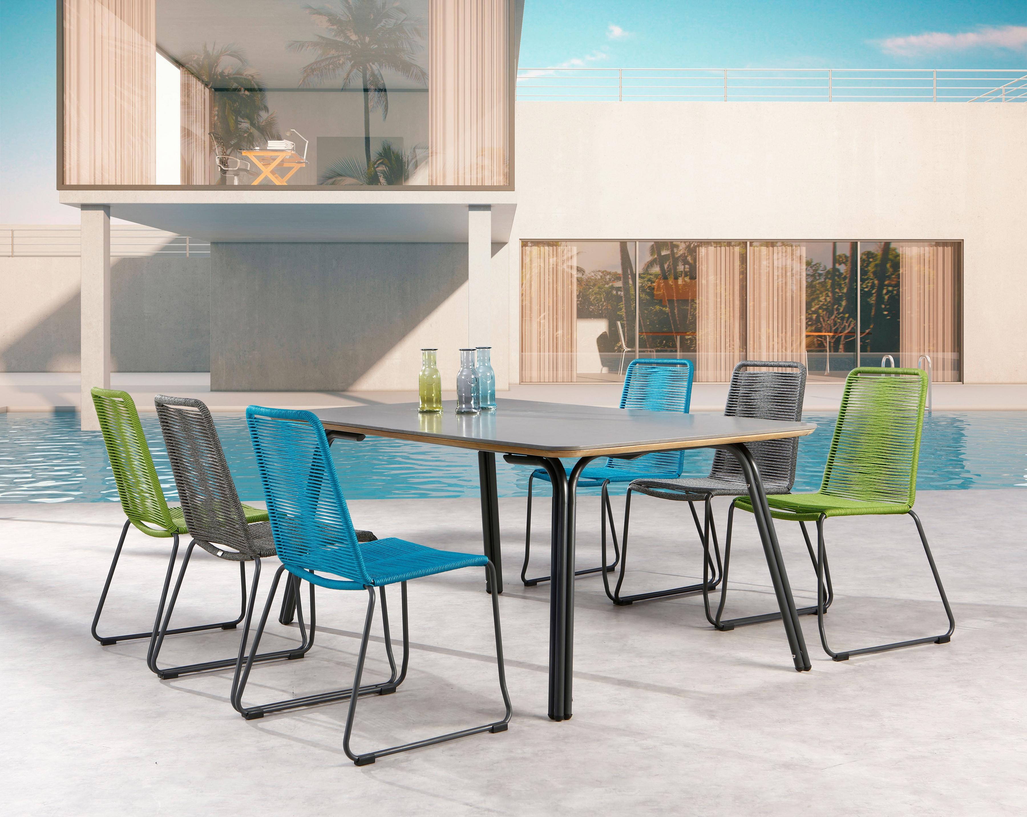 BEST Gartenmöbelset Symi 7-tlg 6 Sessel Tisch 180x100 cm